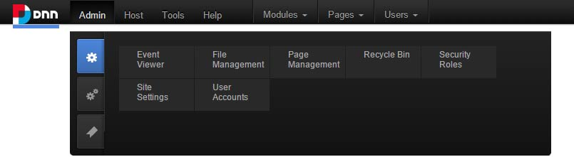 DNN tabbed admin panel
